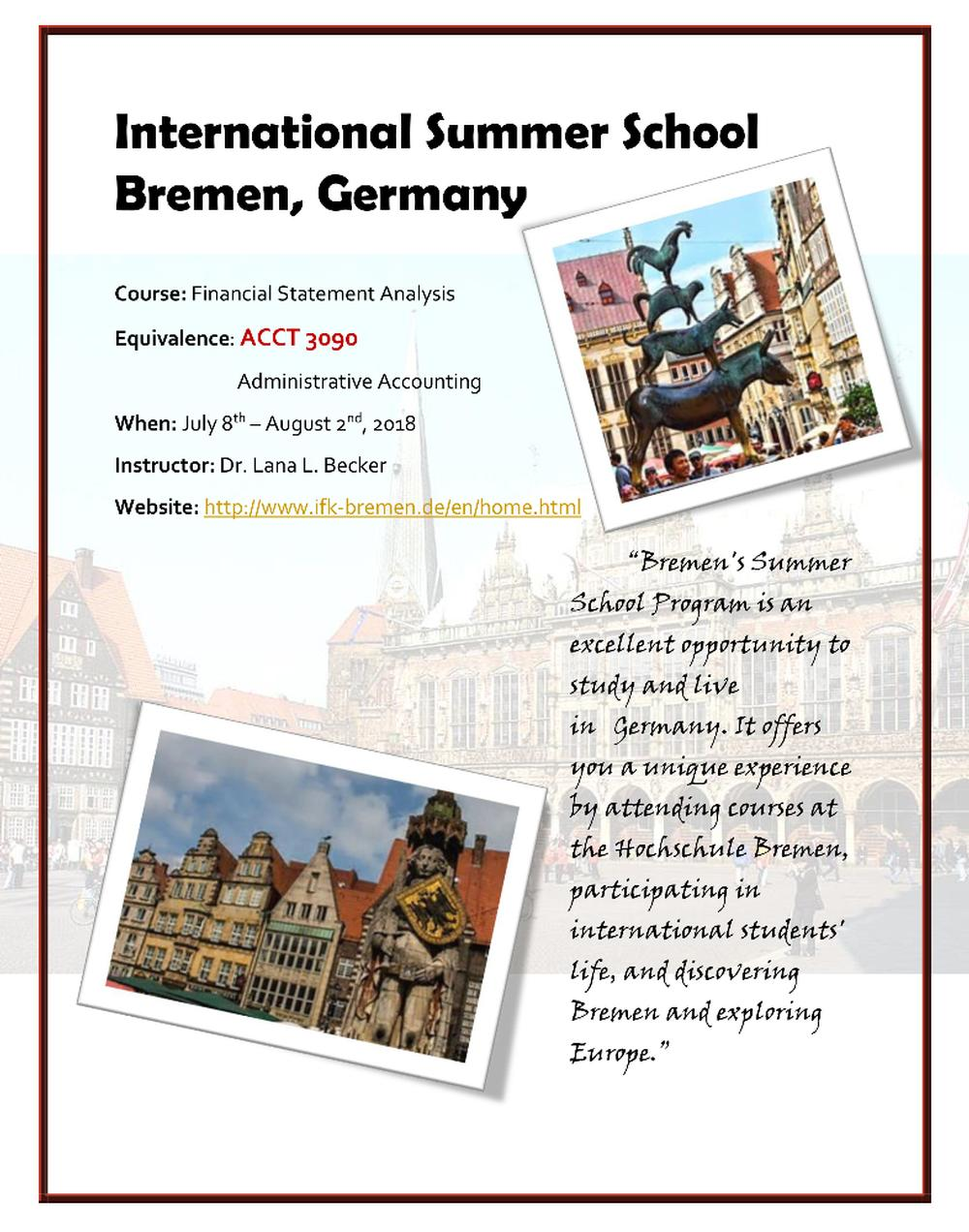 Study abroad flyer to bremen - Financial Statment Analysis -1